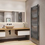 New (Aa39)Towel Rail - 22mm, Anthracite Curved, 1600x500mm.