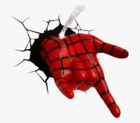 (R13B) 6x Marvel 3D Deco Light. 5x Spidey Hand. 1x Deadpool.