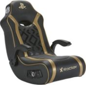 (R11H) 1x X Rocker Gold Multimedia Gaming Chair. (See Photo For Cables Provided. Accessories Box Wa