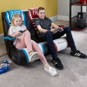 1x XRocker Dual Rivals Twin Gaming Chair RRP £239. (See Photos For Cables Included With Lot)