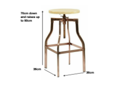 Industrial Copper Bar Stool - Man Cave - Kitchen - Bar - Home