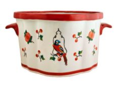 Mr Fredrik Porcelain Pot, Parrot on The Swing and Fruits, Multi-Colour