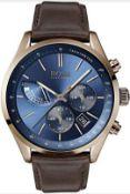 Hugo Boss 1513604 Men's Grand Prix Blue Dial Brown Leather Strap Chronograph Watch