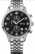 Hugo Boss 1512446 Men's Aeroliner Black Dial Silver Bracelet Chronograph Watch Undeniably Stylish