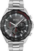 Hugo Boss 1513680 Men's Intensity Black Face Silver Bracelet Quartz Chronograph Watch Brand: Hugo