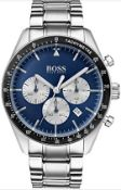 Hugo Boss 1513630 Men's Trophy Blue Dial Silver Bracelet Chronograph Watch
