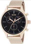 Hugo Boss 1513548 Men's Companion Rose Gold Mesh Band Quartz Chronograph Watch