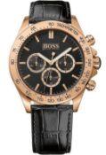 Hugo Boss 1513179 Men's Ikon Rose Gold Bezel Black Leather Strap Chronograph Watch