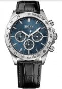 Hugo Boss 1513176 Men's Ikon Blue Dial Black Leather Strap Chronograph Watch