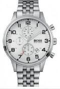 Hugo Boss 1512445 Men's Aeroliner Silver Bracelet Chronograph Watch