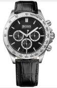 Hugo Boss 1513178 Men's Ikon Black Leather Strap Quartz Chronograph Watch