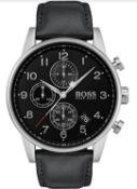 Hugo Boss 1513678 Men's Navigator Black Leather Strap Chronograph Watch