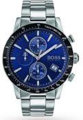 Hugo Boss 1513510 Men's Rafale Blue Dial Silver Bracelet Chronograph Watch