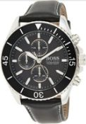 Hugo Boss 1513697 Men's Ocean Edition Black Leather Strap Chronograph Watch