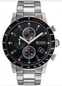 Hugo Boss 1513509 Men's Rafale Black Dial Silver Bracelet Chronograph Watch