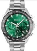 Hugo Boss 1513682 Men's Intensity Green Dial Silver Bracelet Chronograph Watch