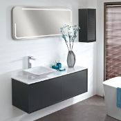 Enzo 1194 x 457 x 450mm designer wall hung vanity unit in graphite finish with sparkling white soli