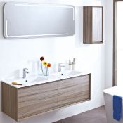 Enzo 1194 x 457 x 450mm designer wall hung vanity unit in walnut finish with sparkling white solid