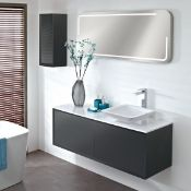 Enzo 794 x 457 x 450mm designer wall hung vanity unit in graphite finish with sparkling white solid