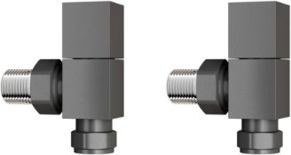 New 15 mm Standard Connection Square Angled Anthracite Radiator Valves. Ra03A. Complies With BS...