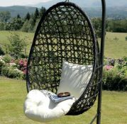 (R16) 1x Sun Time Cocoon Hanging Chair. Unit Has No Support Frame. Hanging Chain Attached To Top O
