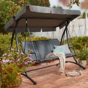 (R16) 1x 3 Seater Swing RRP £230. Powder Coated Steel Frame. (H165x W2215x D130cm). Unit Taken Out