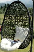 (R16) 1x Sun Time Cocoon Hanging Chair. Unit Has No Support Frame. Hanging Chain Attached To Top Of