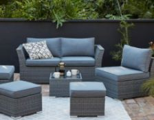 (R16) 1x Bambrick Sofa Rattan Set. RRP £700 When Complete (1x Stool Missing). With 8x Cushions. 2