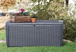 (R16) 1x Keter Sumatra Rattan Effect Outdoor Plastic Garden Storage Box 511L RRP £110.