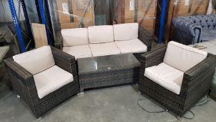 (R16) 1x 5 Seat Rattan Furniture Set With 10x Cushions