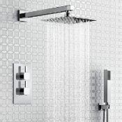 """New & Boxed Thermostatic Mixer Shower Set 8"""" Head Handset + Chrome 2 Way Valve Kit Sp9243.Solid..."""