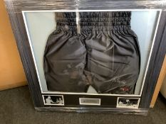 Sir Henry Cooper Signed Framed Boxing Shorts