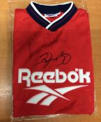 Reebok Shirt Signed By Gary Pallister, Andy Cole & Ryan Giggs 1994-1996