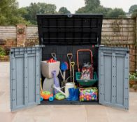 1x Keter Store It Out Ace Plastic Outdoor Garden Storage Shed RRP £160. 1200 Litre, Grey & Graphit
