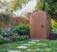 1x Keter Darwin 6 x 4ft Outdoor Plastic Garden Shed Brown RRP £340. External Dimensions (H)205 x