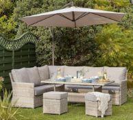 1x Florence Garden Corner Sofa Set RRP £1100. Lightweight Aluminium Frame With Hand Woven UV Resis