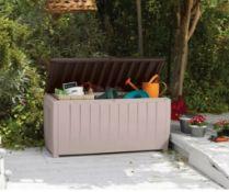 (R9J) 1x Keter Novel Plastic Outdoor Plastic Garden Storage Box RRP £70. 340 Litre, Beige & Brown.