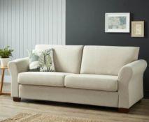 1x Hayley 3 Seater Sofa Natural Slub RRP £500. Pine Wood Frame And Beech Wood Legs. (H)87 x (W)20