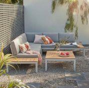 1x Hartington Spirit Collection Garden Corner Sofa Set Grey RRP £1100. Lightweight Aluminium Frame
