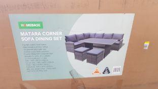 (R16) 1x Matara Corner Sofa Dining Set. Appears New, Unused. Original Table Not In Lot – Has Been
