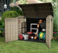 1x Keter Store it Out Ultra Outdoor Plastic Garden Storage Shed Beige & Brown RRP £325. Elegant