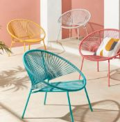 (R7E) 2x Acapulco Garden Chair Grey RRP £35 Each. H75 x W82 x D72.5cm. (1x has Loose Rattan)