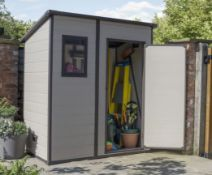 (R4M) 1x Keter Manor Pent Shed 6x4ft Beige / Brown RRP £350. Assembled External Dimensions:183.5 x