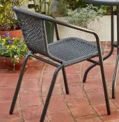 (R8K) 4x Items. 2x Eloise Stacking Chair Black (1x Loose Rattan Front Of Chair, See Photo). 2x Vel