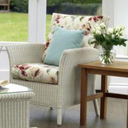(R9C) 1x Laura Ashley Wilton Vintage Lace Outdoor Rattan Chair RRP £485. (H97cmx W87cm x D82cm). H