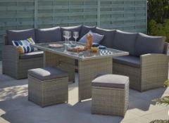 1x Matara 7 Seater Corner Garden Sofa Set RRP £700. Hand Woven Rattan Effect. Toughened Glass Top.