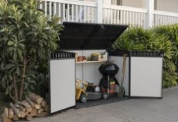 1x Keter Premier Jumbo Outdoor Plastic Garden Storage Shed Grey RRP £385. Piston Assisted Lid And