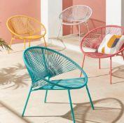 (R7D) 3x Acapulco Garden Chair RRP £35 each. 2x Blue, 1x Orange. (H75 x W82 x D72.5cm)