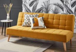 1x Clik Clak Kelly Sofa Bed Ochre RRP £200. Pine Wood Frame With Birch Wood Legs. Sofa : (H)80 x