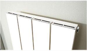Deckon 380 x 1200mm flat panel designer radiator in white with chrome trim. RA610